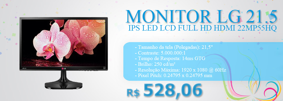 MONITOR LG 21.5 IPS LED LCD FULL HD HDMI 22MP55HQ
